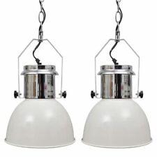 vidaXL 2x Hanglamp Modern Metaal Wit Plafondlamp Lamp Verlichting Industrieel