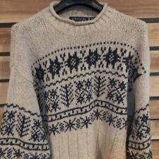 EUC Mens VTG 90s Baggy Structure WOOL Blend Mock Sweater Nordic Print XL