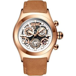 MENS TALIS Co. CHRONOGRAPH WATCH SKELETON DIAL, ROSE GOLD BROWN LEATHER STRAP