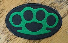BRASS KNUCKLES EMBROIDERED PATCH GREEN & BLACK MADE IN USA