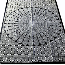 Couvre-lit tissu déco Mandala Noir Blanc Couvre-lit COTON coton 140x200