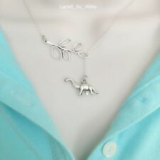 Beautiful Branch and Dinosaur Handcrafted Silver Lariat Style Y Necklace.