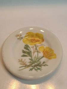 RAILROAD CHINA - AT&SF - CALIFORNIA POPPY PATTERN - BUTTER PAT PLATE
