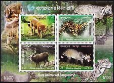 Bangladesh 2016 Rare Animals 4v perf MS MNH Golden Cat Leopard Sambar Deer Civet