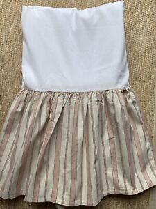 Ralph Lauren Chaps 100%Cotton FRENCH RIVIERA Beige STRIPES QUEEN Bed Skirt