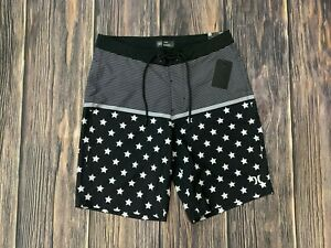 Men's Hurley Stars And Stripes Black Board Shorts Bathing Suit Sz 32 NEW NWT