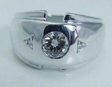14K White Gold Finish 1.00 Ct Round Diamond Men's Engagement Wedding Band Ring