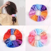 1pcs Tie-dye Velvet Scrunchie Gradient Color Soft Elastic Hair Tie Ponytail Rope