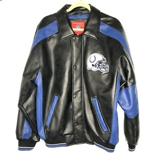 G-III NFL Indianapolis Colts Jacket Mens Sz M Faux Leather Helmet Horseshoe Logo