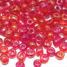 Perles de Rocailles en verre Transparent 4mm Fuchsia AB 20g (6/0)