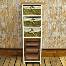 Walnut & White 1 Door 3 Wicker Basket Bathroom Bedroom Cabinet Storage Unit