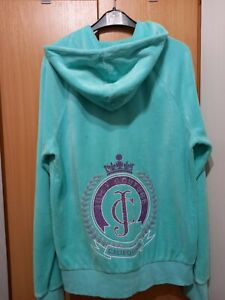 Juicy Couture Velour Hoodie  cardigan women size S-M blue green color