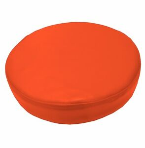 Pe215r Fluorescent Orange Thick Faux Leather 3D Round Cushion Cover Custom Size