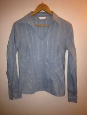 Next Cotton/Polyamide Mix Shirt Top Size 12 Pale Blue Embroidered <R9688