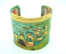 Decoupage Metal Bangle Cuff Bracelet Vintage Popeye Comics Olive Oyl handcrafted