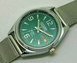 citizen automatic men's steel green dial day/date vintage japan made watch run