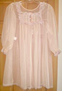 Ultra Sheer Babydoll Short Peignoir Chiffon Bed Jacket Pink Lace M Vintage