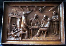 french vintage resin breton  men playing card games scene plaque.