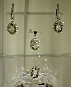 Green Amethyst 9x7mm-Wh CZ .925 Silver 14K Gold Plated Set, Size 7.25 Ring #1090
