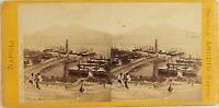 Amodio, Italia Napoli Vista Del Port E Vesuvio, Foto Stereo Vintage Albumina