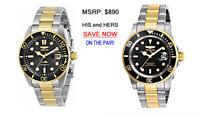 INVICTA His & Her Black w/Gold Stainless Steel Matching Dive Watches w/Date