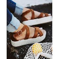 Womens Ladies Sandals Espadrilles Summer Straw Platform High Heels Casual Shoes