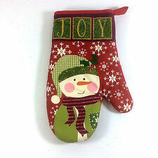 Snowman Oven Mitt Holiday Time Christmas Reg Green White  Quilted