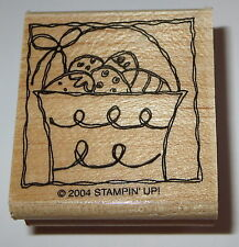 Easter Eggs Basket Rubber Stamp Spring Stampin' Up! Retired Wood Mounted