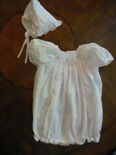 Petit Ami Baby Girls Newborn Dressy Bubble Outfit & Hat, White Batiste, Smockin