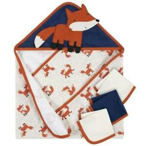 Gerber 4-Piece Boys Fox Hooded Towel and Washcloths Set