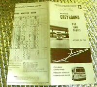 Eastern Greyhound Bus Timetable 13 October 1962 New York Boston Hartford N Haven