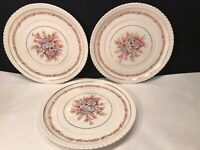 3 VINTAGE VELLUM WARE PLATES  9 1/4''  FLORAL AND FERN DESIGN HARD TO FIND !