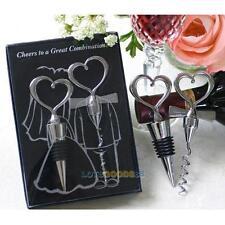 Wedding Party Favor Corkscrew Wine Bottle Opener Stopper Set Love Heart Decor