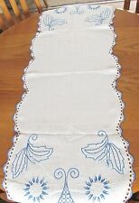 Royal Blue,White Fr Knot Embroidered,Blu,White Crochet Cotton Tablerunner 17x49
