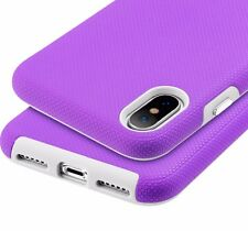 iPhone X / XS - HARD HYBRID HIGH IMPACT ARMOR PURPLE NON-SLIP PHONE CASE COVER