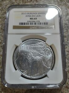 African Lion 1oz Silver Coin Burundi 2015 MS69 NGC Graded - Low Mintage 50,000