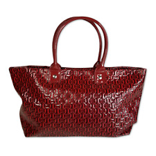 Essence of Beauty Purse Red Faux Patent Leather Tote Bag Shoulder Handbag 20""