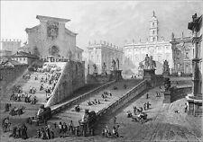 ITALIE - ROME : LES ESCALIERS du CAPITOLE - Gravure du 19e siècle