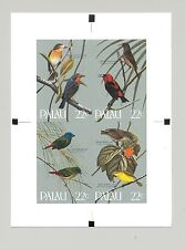 Palau #99-102 Song Birds,4v. on 1v. imperf proof m/s of 4