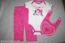 Baby Girls THREE PC SET Pants T Shirt Bib PINK Zebra Heart MOMMY LOVES ME 3-6 MO