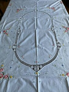 """White Cotton Oval Tablecloth 67"""" x 83"""" With Embroidered Flowers and Lace"""