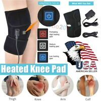 Electric Heating Knee Wrap Pad Brace Therapy Leg Massager USB Pain Relief Black
