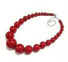 Tribal Chunky red Coral bead Necklace