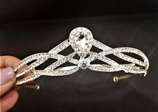 Brilliant Bridal , Wedding , Prom , Sweet 16 CZ Silver Plated Tiara T-048