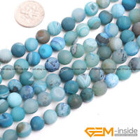 Natural Colorful Frost Geode Agate Round Beads For Jewelry Making 8mm 10mm 14mm