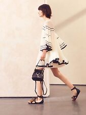 $3295 Chloe AUTH NWT Cream Silk Crepon Black Striped Swing Mini Dress 38