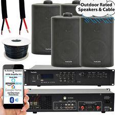 400W LOUD Outdoor Bluetooth System –4x Black Speaker– Weatherproof Garden Music