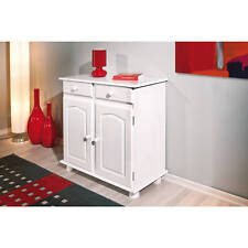 Commode buffet console meuble de rangement cuisine portes tiroirs massif BLANC
