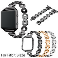 Stainless Steel Replacement Watch Band Strap with Metal Frame for Fitbit Blaze