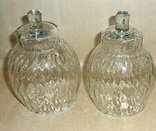 "2 Homco Home Interiors Optic Honeycomb Clear Round Votive Candle Holders 4 3/4""T"
